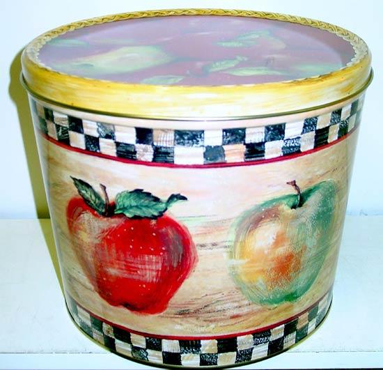 2 Gal Harvest Apples Popcorn Tin