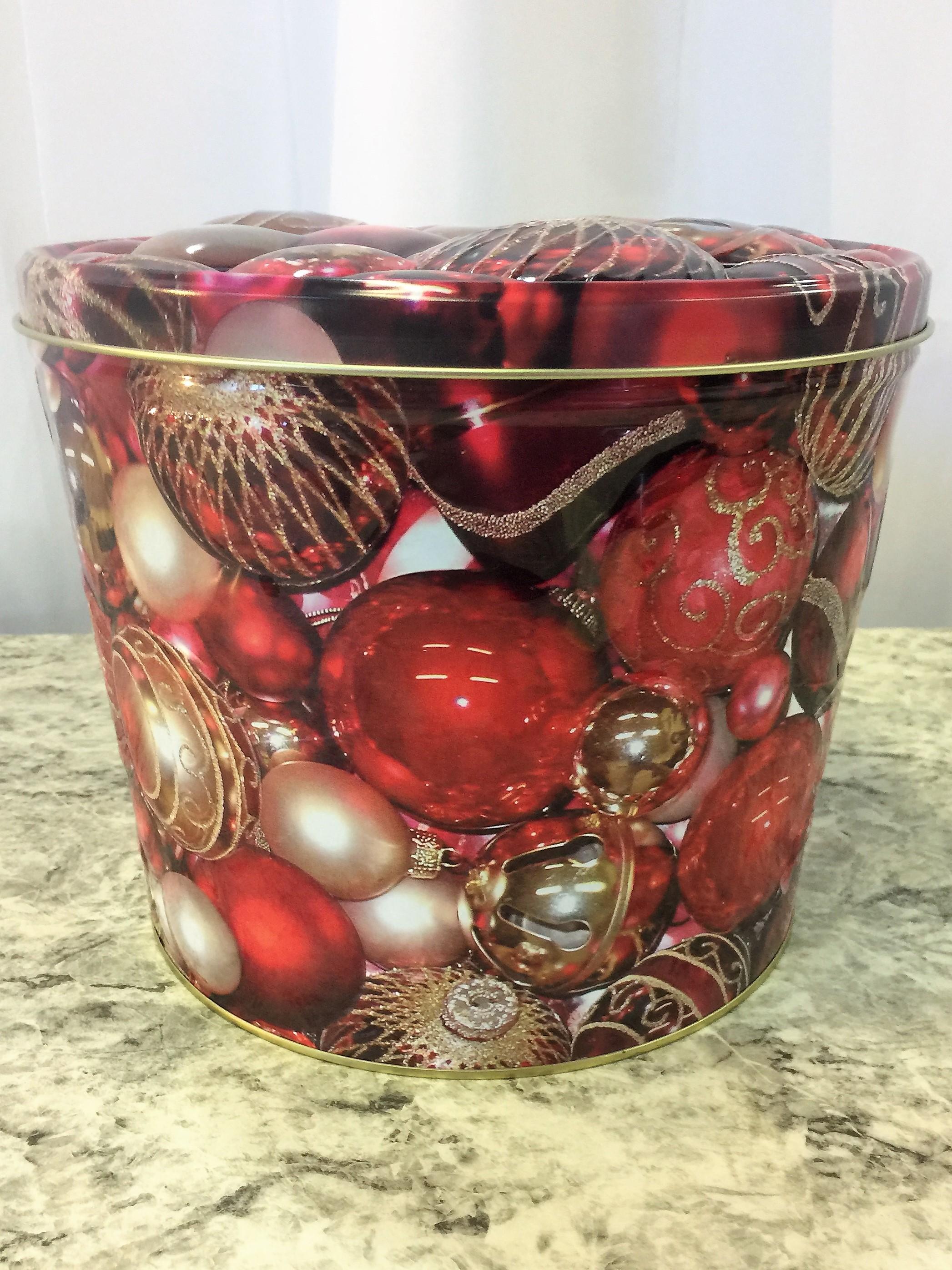 2 Gal Holiday Ornaments Popcorn Tin