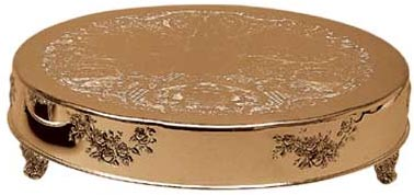 "18"" Round Gold Cake Plateau Rental"