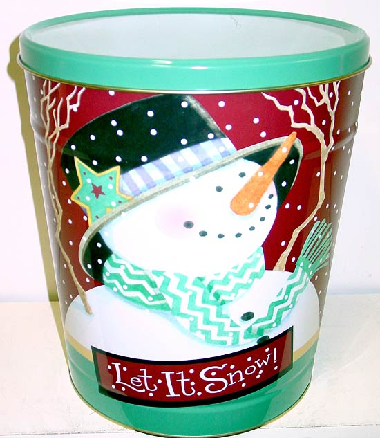 3.5 Gal Let It Snow Popcorn Tin
