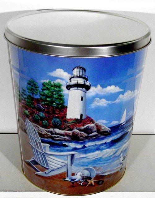 6.5 Gal Beach Lighthouse Popcorn Tin