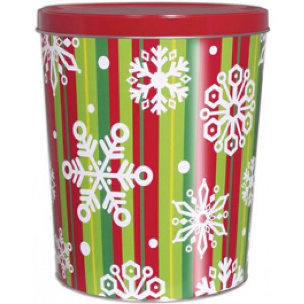 6.5 Gal Holiday Stripe Popcorn Tin