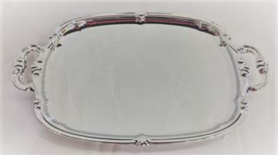 Silver Ornate Serving Platter with Handles Rental