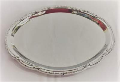 Silver Ornate Serving Platter Rental