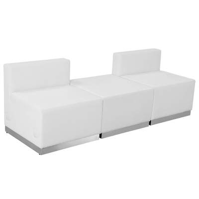 White Leather Modular Reception Configuration, 3 Piece Rental