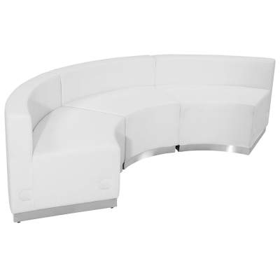 White Leather Modular Reception Configuration, 3 Piece Rental