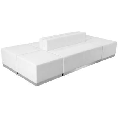 White Leather Modular Reception Configuration, 8 Piece Rental