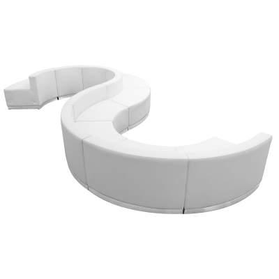 White Leather Modular Reception Configuration, 9 Piece Rental
