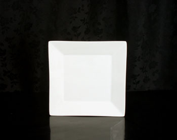 "White Square Dessert Plate 7"" Rental (20/Rack)"
