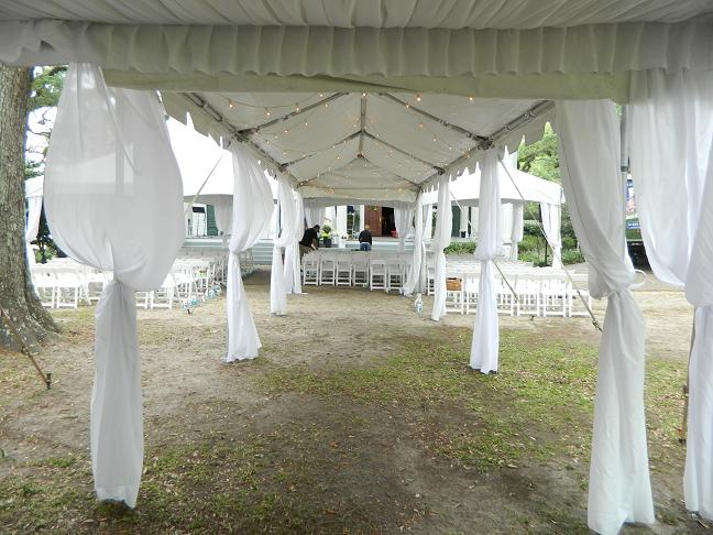 Fabric White Tent Leg Drapes Rental