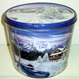 2 Gal Winter Cabin Popcorn Tin