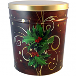 6.5 Gal Boughs of Holly Popcorn Tin