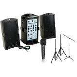 2 Speaker Sound System with Tripods and Wired Microphone Rental