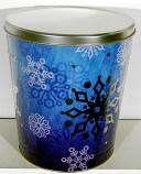 3.5 Gal Silver Snowflake Popcorn Tin