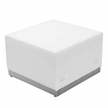White Leather Ottoman Rental- Modular Series