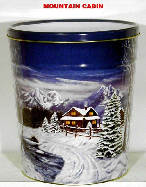 3.5 Gal Mountain Cabin Popcorn Tin