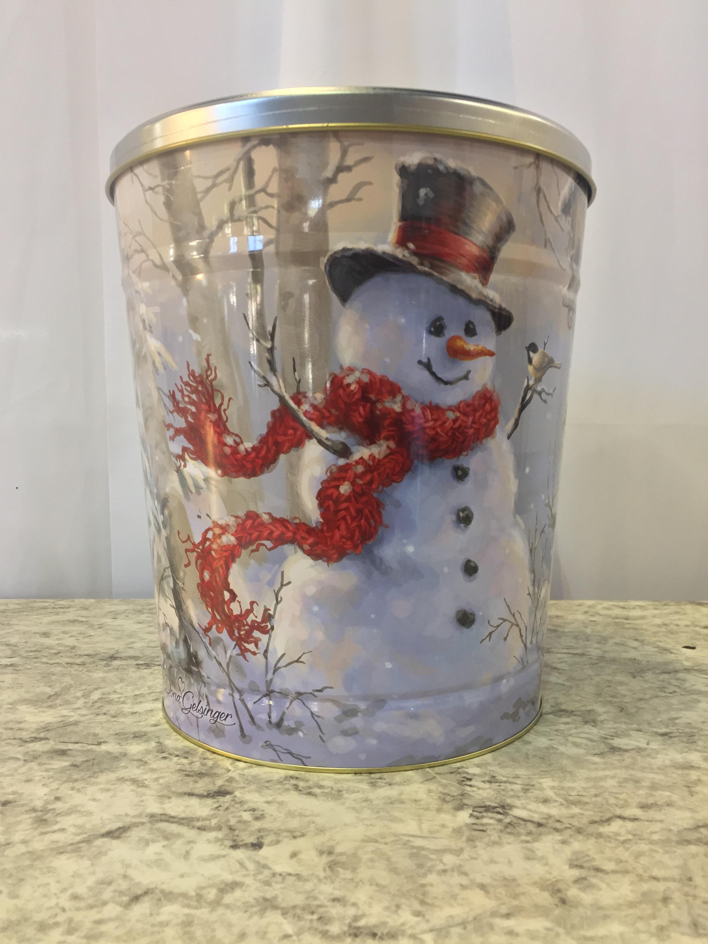 3.5 Gal Winter Snoman Popcorn Tin
