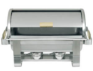 Roll Top Silver W/ Gold Chafer Rental