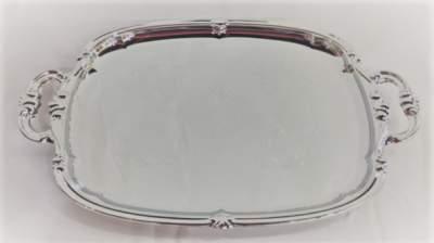 Silver Ornate Serving Platter with Handles Rental