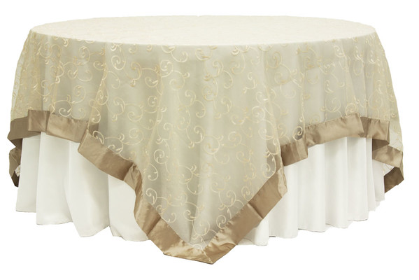 90X90 Champagne Embroidery Sheer Swirl Topper Rental