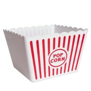 Popcorn Bucket, Red and White Stripe Plastic