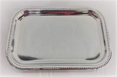Medium Silver Rectangle Serving Platter Rental