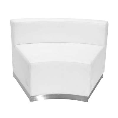 White Leather Concave Chair Rental- Modular Series