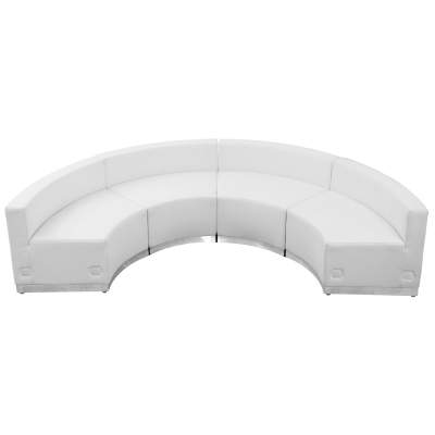White Leather Modular Reception Configuration, 4 Piece Rental