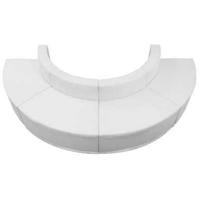 White Leather Modular Reception Configuration, 4 Piece Rental