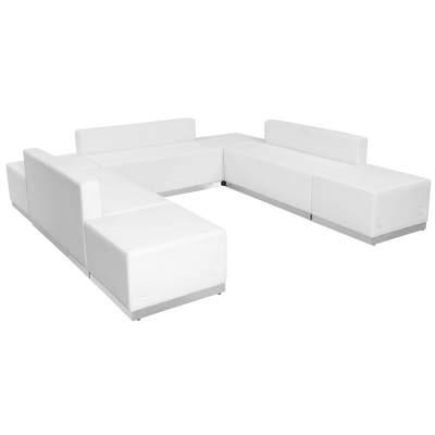 White Leather Modular Reception Configuration, 10 Piece Rental