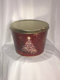 2 Gal Red & Gold Sparkle Christmas Tree Tin