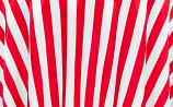 "120"" Red and White Satin Stripe Linen Rental"