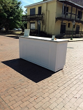 8 Ft. White Wood Bar with Marble Top Rental