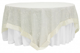 90X90 Ivory Embroidery Sheer Swirl Topper Rental