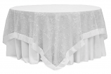 90X90 White Embroidery Sheer Swirl Topper Rental