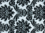 "120"" Black and White Damask Linen Rental"