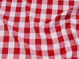 "120"" Red and White Polyester Checker (Gingham) Linen Rental"