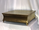 "15"" Square Gold Hammered Cake Plateau Rental"