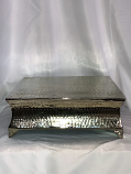 "15"" Square Silver Hammered Cake Plateau Rental"
